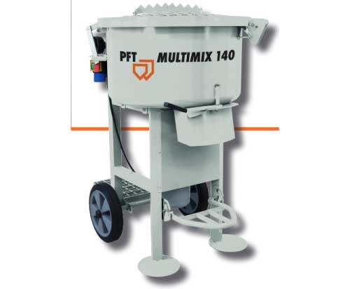 PFT Multimix 140 screed forced action mixer isolated on white background