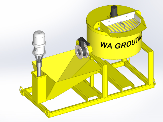 Hired Grout Machine on worksite