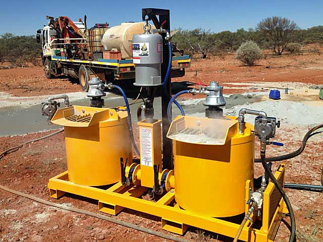 Hired geo-grouter actively pumping on mining site